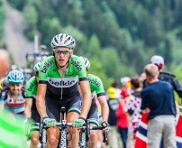 Alpe-D'Huez,France- July 18, 2013: The Dutch cyclist Robert Gesink from Belkin Pro Cycling Team climbing the difficult road to Alpe-D'Huez, during the stage 18 of the edition 100 of Le Tour de France 2013.