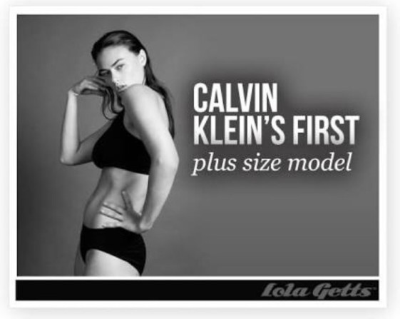 The plus sized image published by Calvin Klein